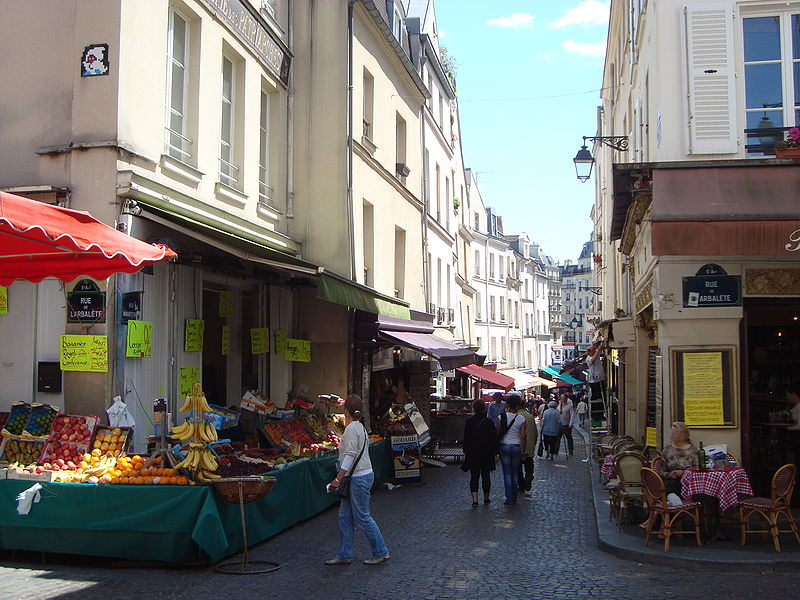 Shoppers on rue Mouffetard 5th Arrondissement Paris neighborhood