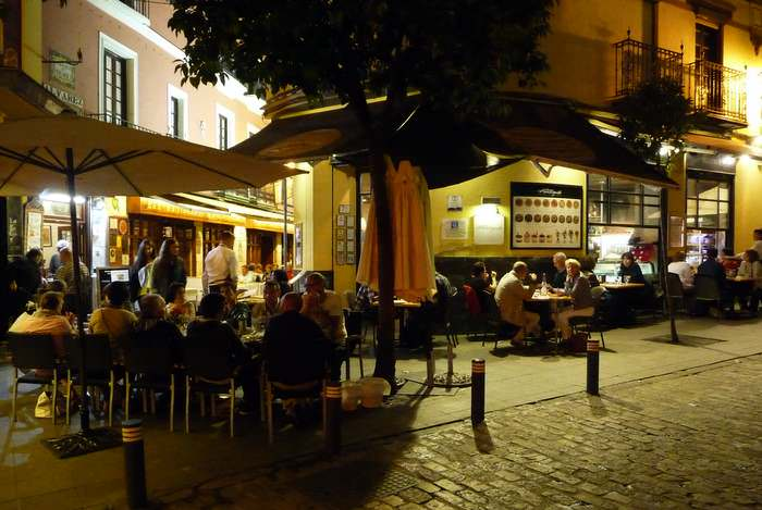 Night dining in Seville