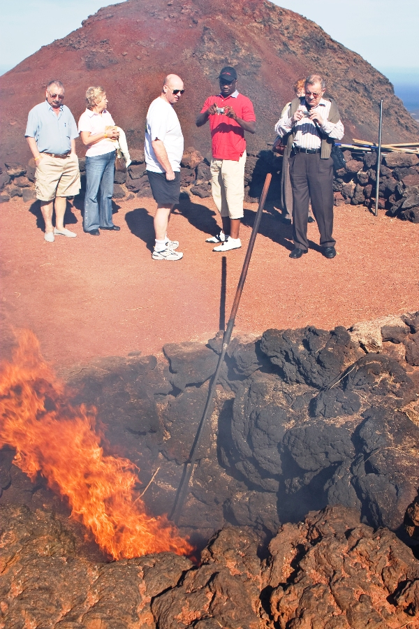 Brush thrown into a volcanic fissure immediately ignites in Lanzarote, Spain
