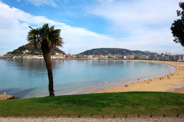 Playa de la Concha beach in San Sebastian, Spain