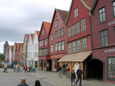 Bryggen's colorful buildings