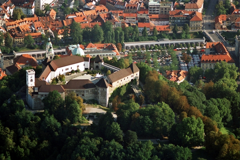 Ljubljana castle with the town