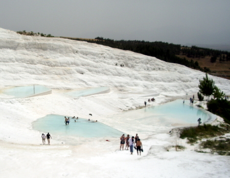 Taking a dip in the Travertine pools of Pamukkale
