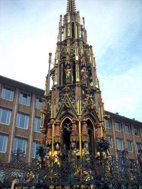 Historic Schoner Brunnen fountain in Nurnberg