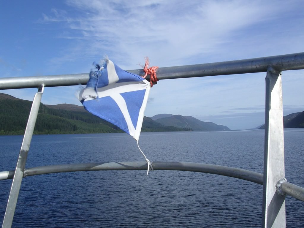 The Saltire flying over Loch Ness