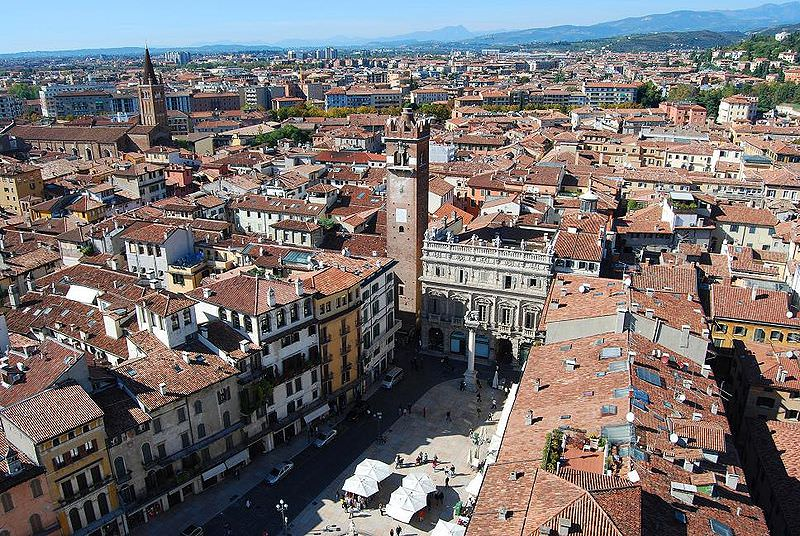 Verona - Piazza Erbe from Lamberti Tower