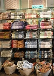 stacked fabrics at the Simrane store