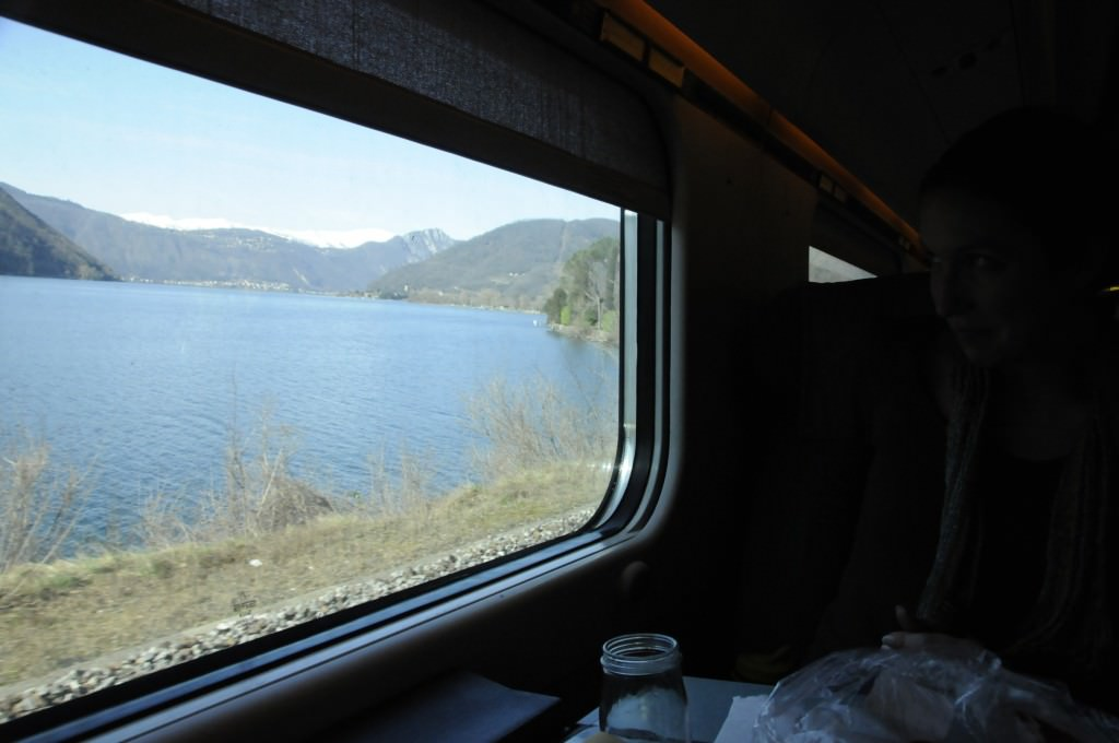 Alps and Lake from Train - photo by Mattie Bamman