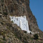 Climbing to the Monastery of Hozoviotissa in Amorgos, Greece