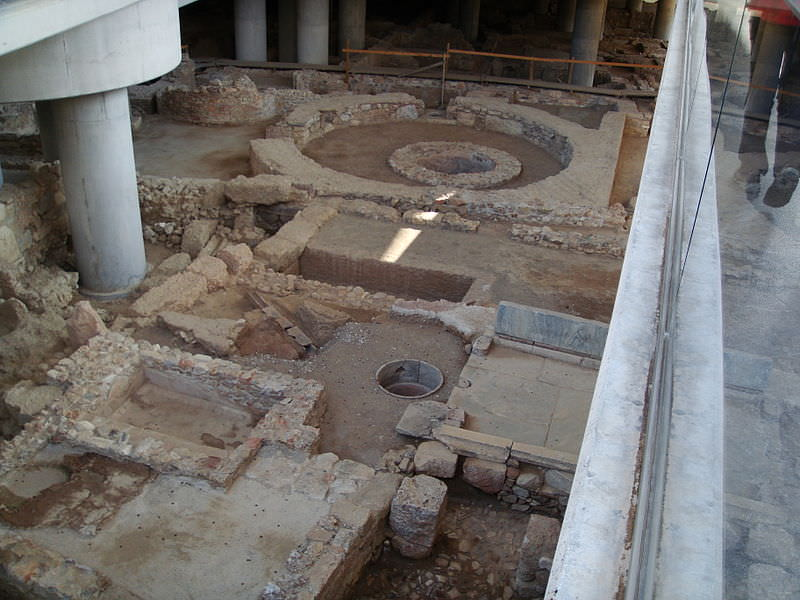 Archaeological site below the main entrance to the museum