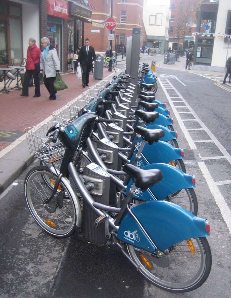 One way to get around Dublin is by bike.