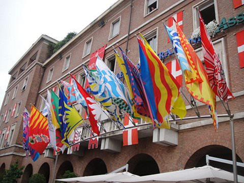 Each district, in and around Asti, has its own banner and colors