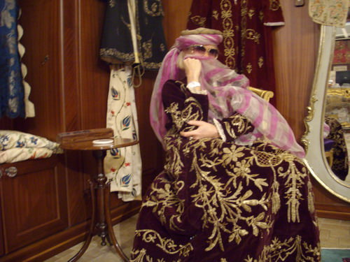 wearing an antique Ottoman kaftan at the sadberk hanim museum