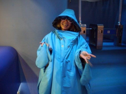 Wearing a thermal coat at the Ice Museum in Istanbul