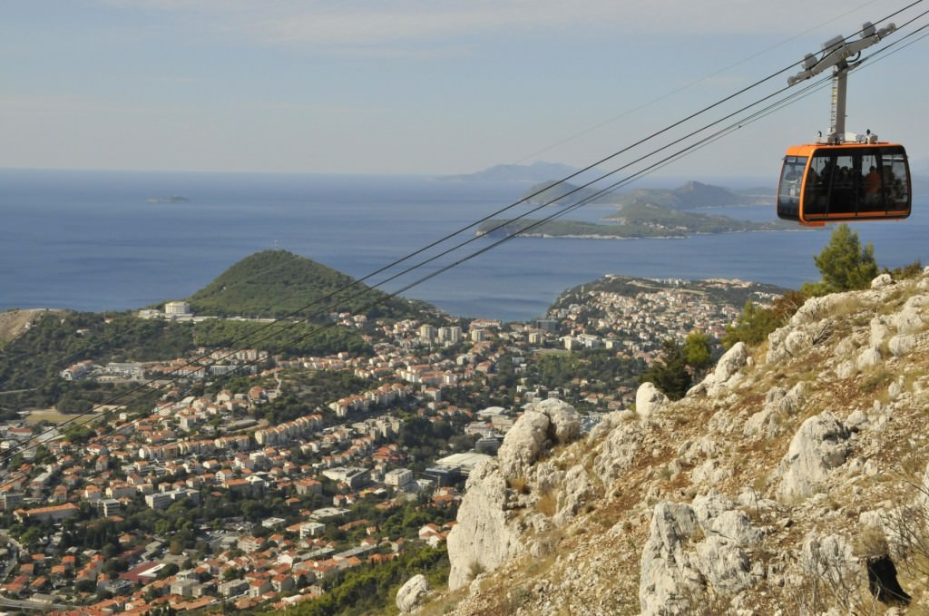 The cable car that climbs the hill behind Dubrovnik