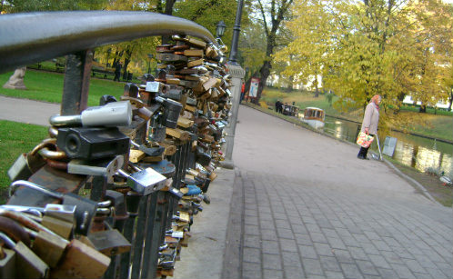 Locks of love on Bridge in Riga