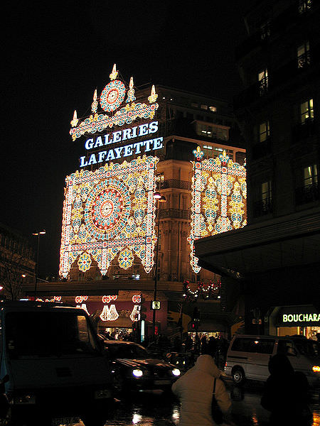 Galeries lafayette all lit up for Christmas