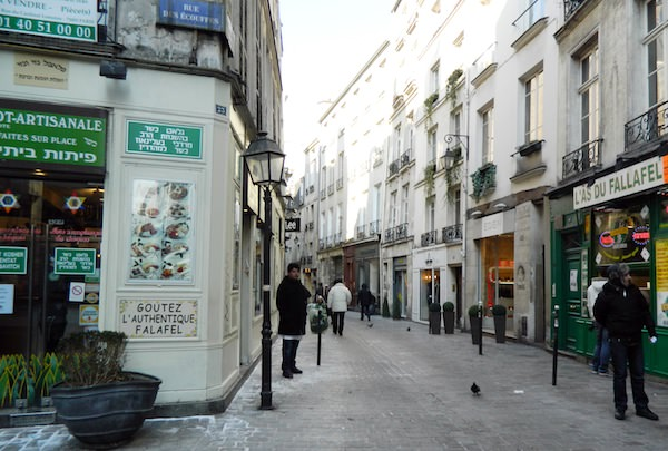 on the rue des Rosiers in Paris Marais