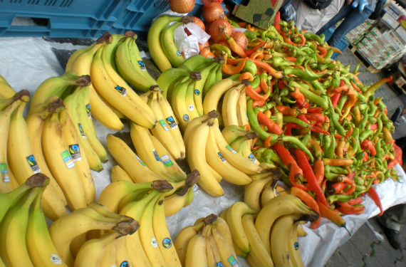 Bananas and Peppers at the Clemenceau Market in Brussels