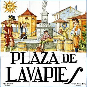 Tile-work showing Lavapies neighborhood of Madrid