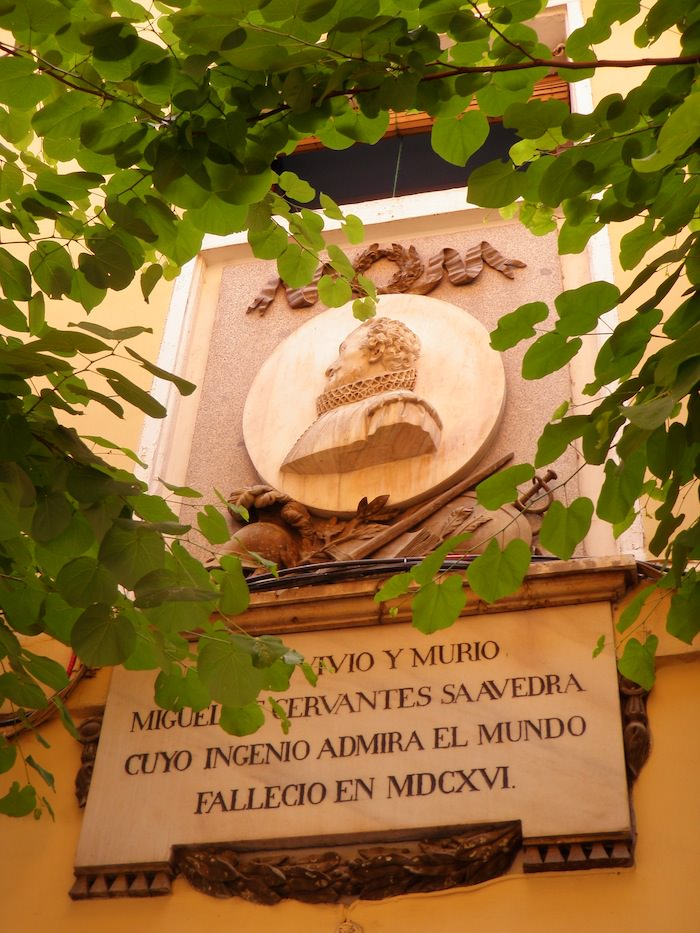 plaque honoring The birthplace of Miguel Cervantes