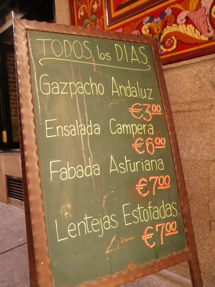 Madrid abounds with delicious food as evidenced by this menu