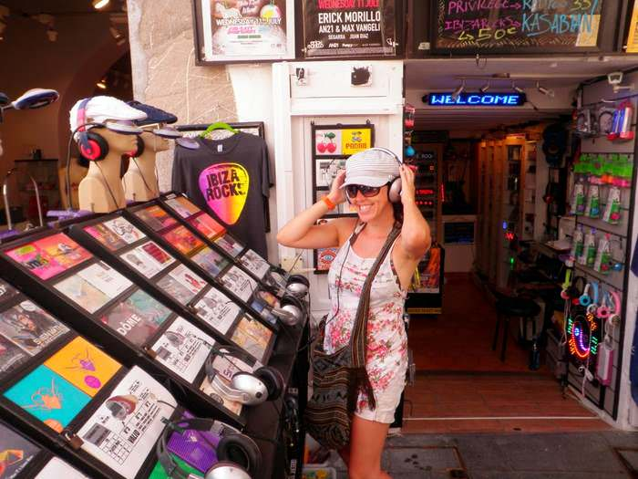 Checking out music in an Ibiza music store