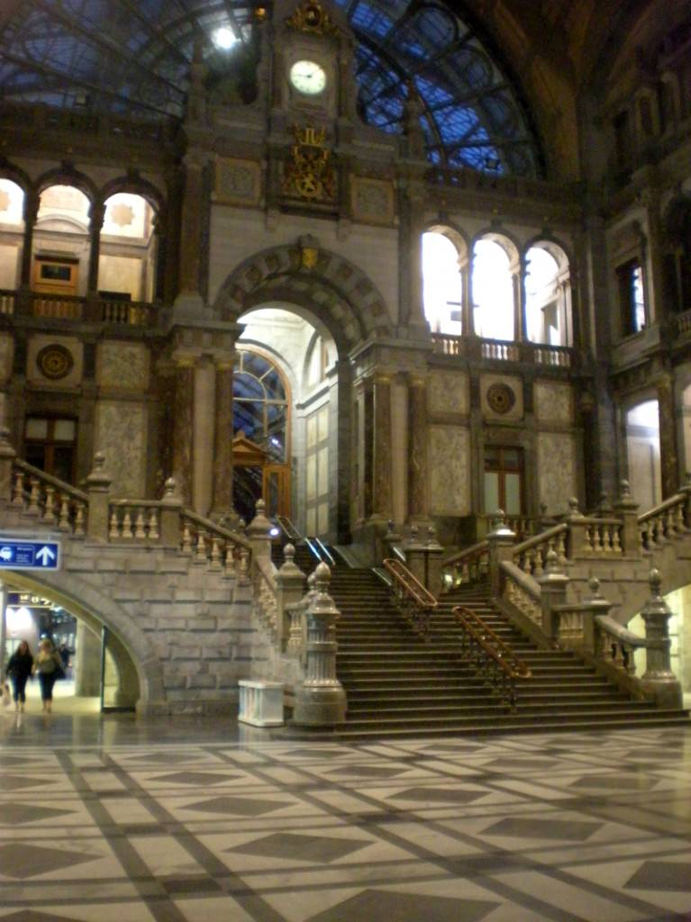The main staircase in Antwerp's central train station