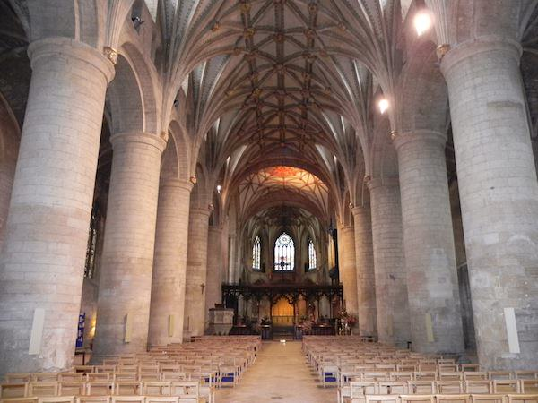 The nave at Tewkesbury Abbey