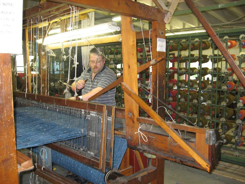 Old-fashioned loom weaving
