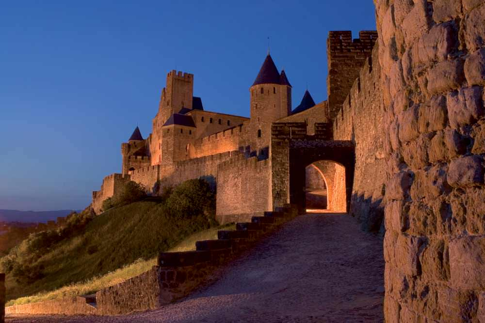 Cite of Carcassonne at night