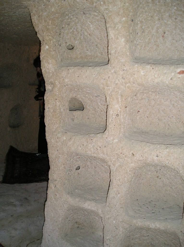 Former Pigeon holes inside of the cave-home