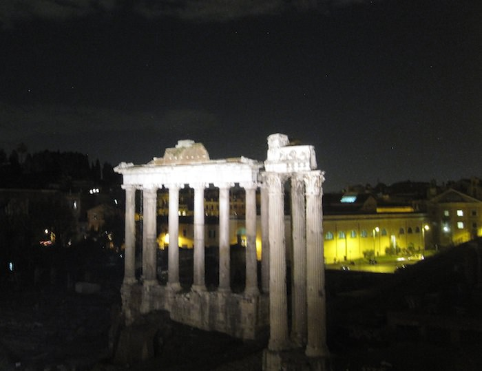 Rome's Forum at night