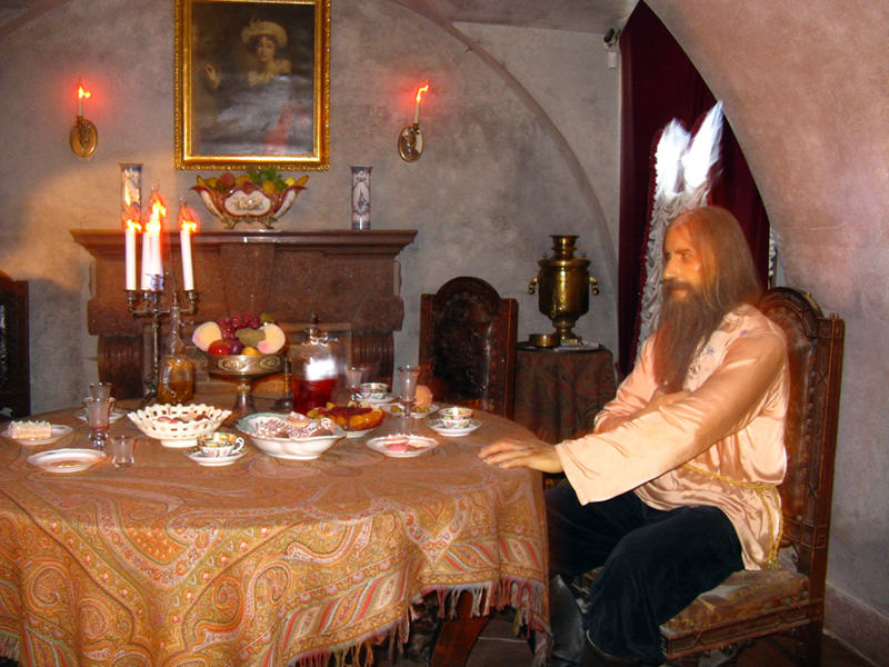 Wax representation of Rasputin dining at Yusupov Palace