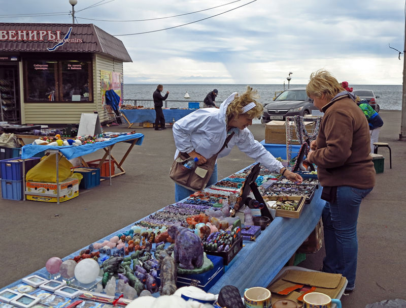 Shopping on the shore of Lake Baikal