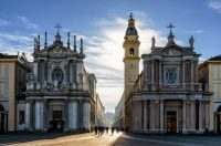 Where to Stay in Turin Italy - Piazza San Carlo, one of the main squares of Turin (Italy) with its twin churches