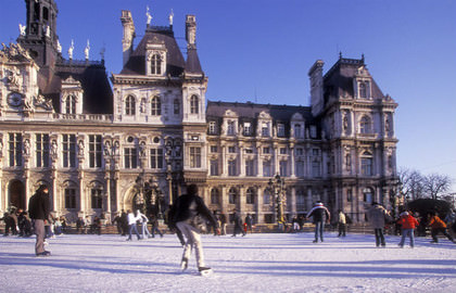 Ice skating at the Hotel de Ville in Paris
