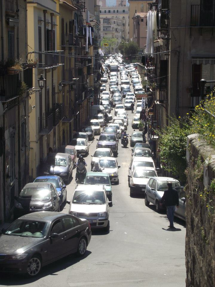 Crazy traffic and no sidewalks in Palermo