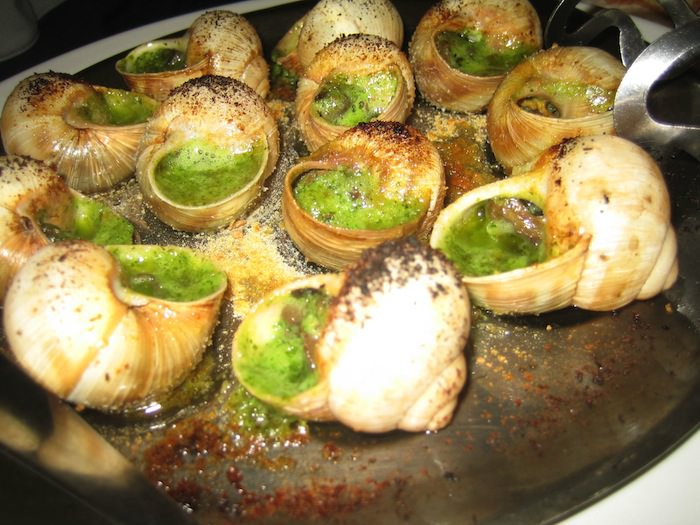 Plate of prepared snails