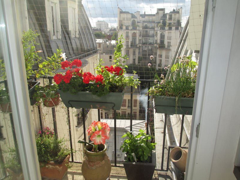 Small balcony off Paris apartment kitchen