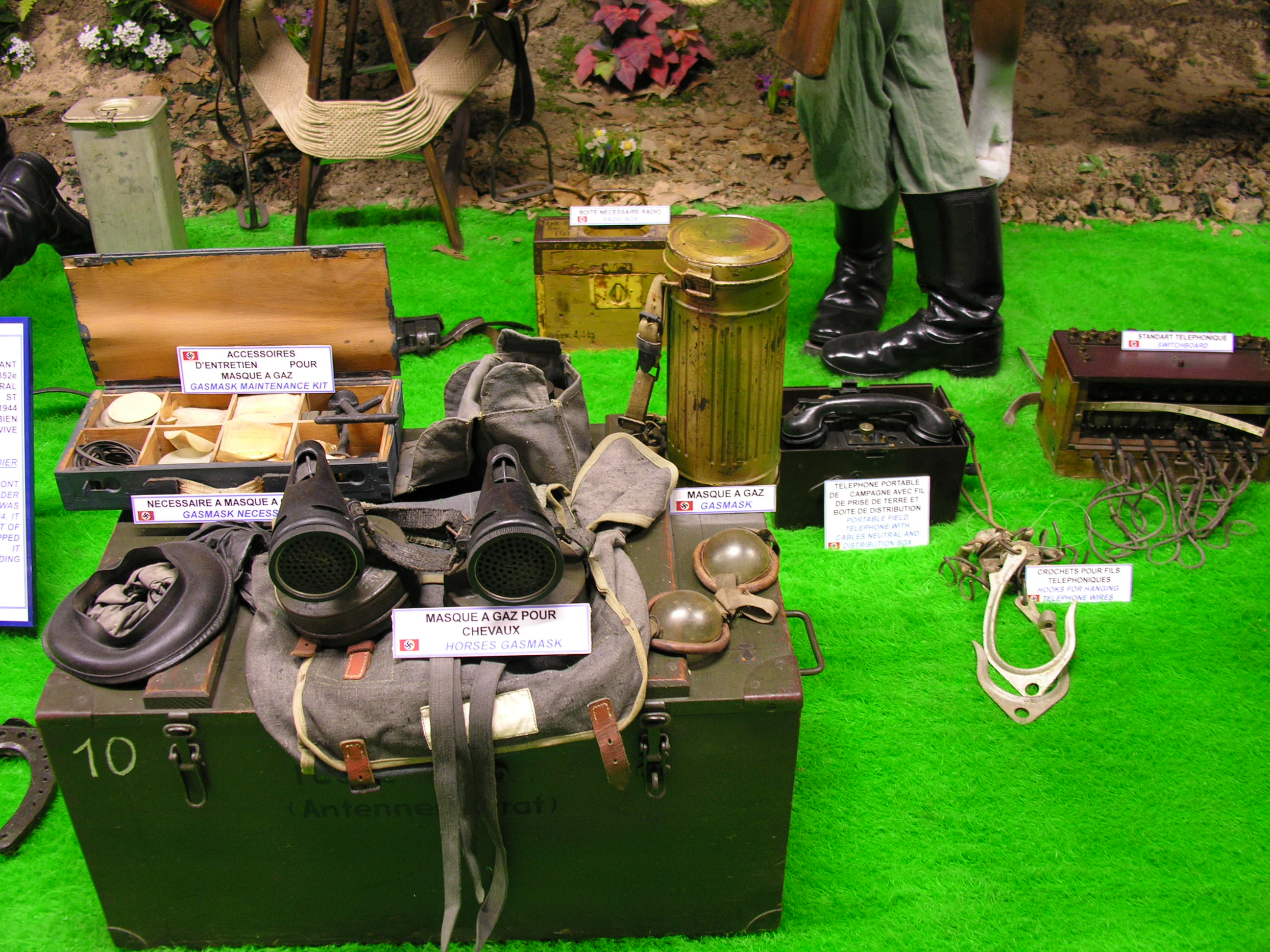 Equipment display in WWII Museum