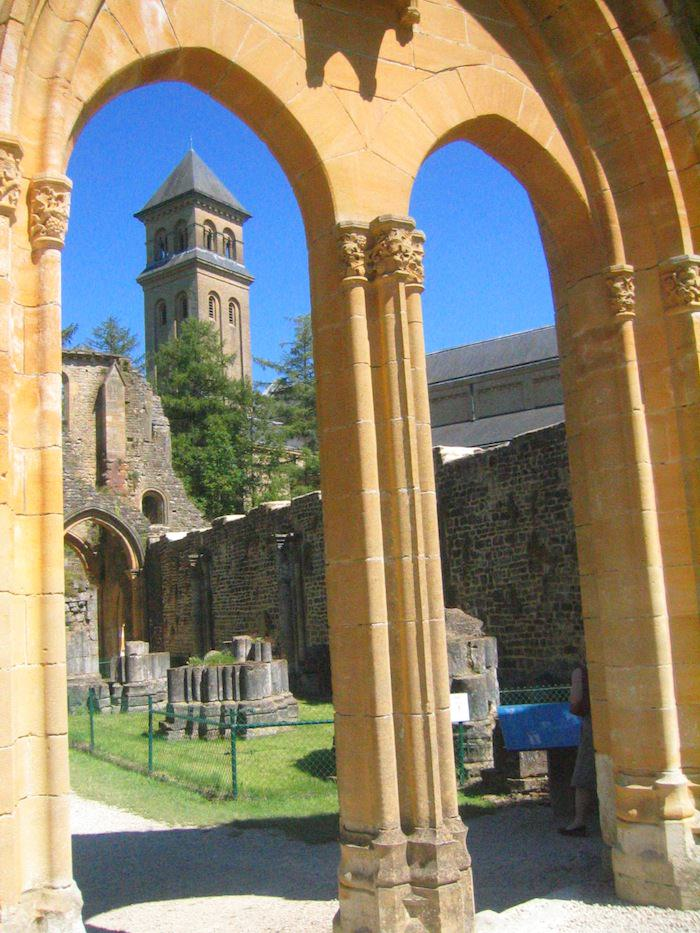 A peek into the abbey ruins at the Orval Monastery - Photo by Joe Stange