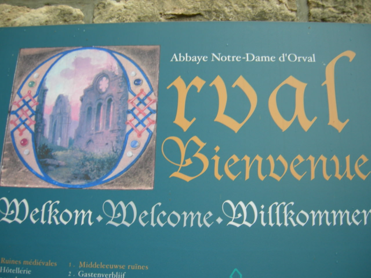 Orval Monastery entrance sign