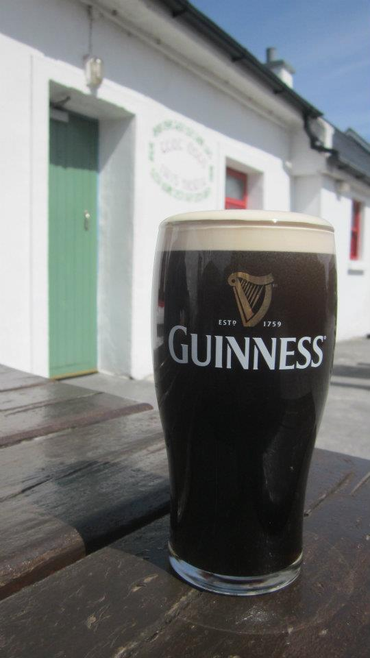 Enjoying a pint of Guinness at the pub
