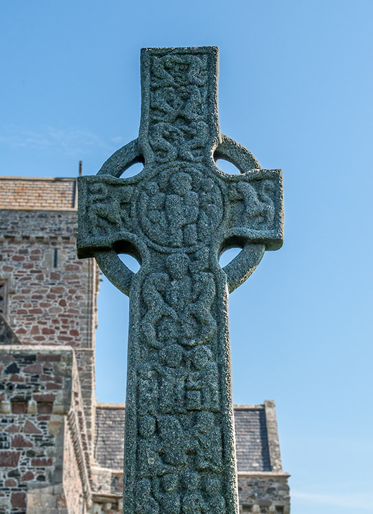 St. Martin's cross is original and dates from the 700s. This side is carved with stories from the Bible.