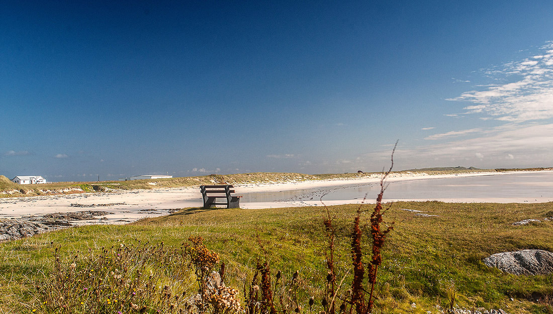 One of the many beaches in Tiree – this one is Soroby Bay, near Balemartine, at low tide.