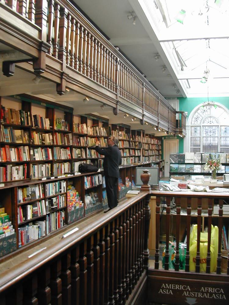 Daunt Books has a quiet hushed atmosphere.