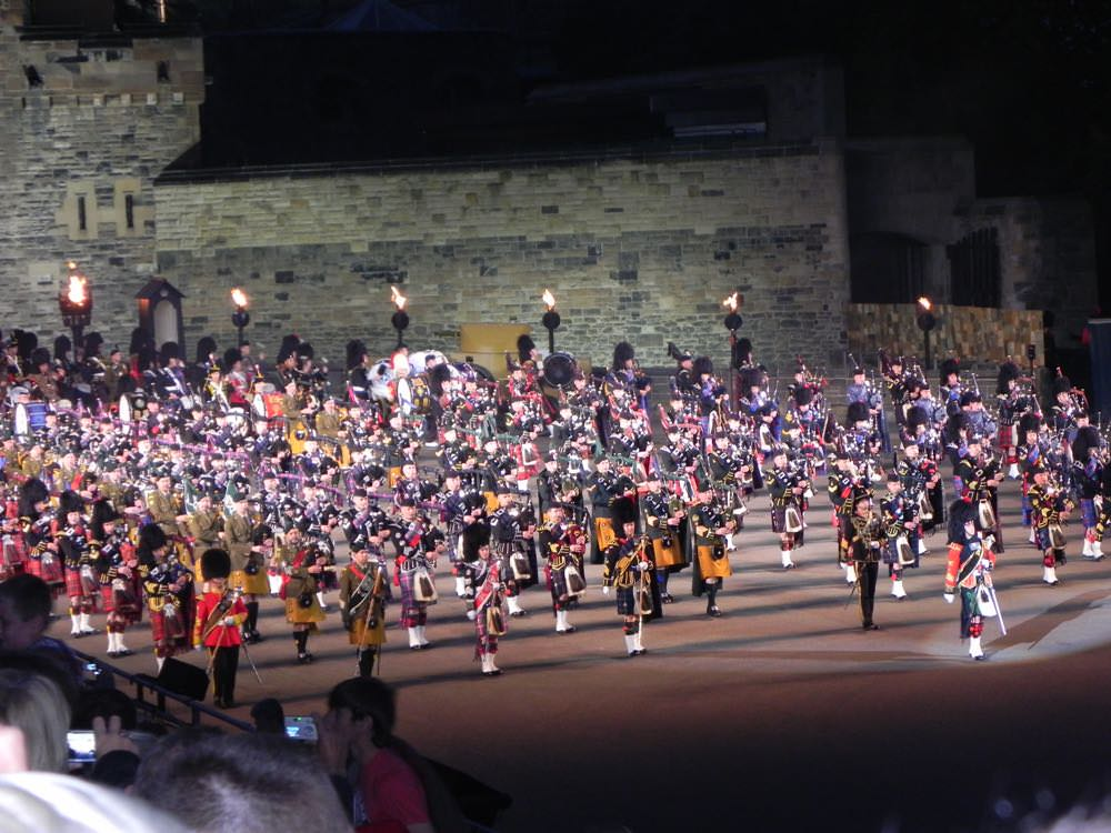The Edinburgh Military Tattoo is a splendid sight when 600 pipers come marching out of the castle playing Scotland the brave
