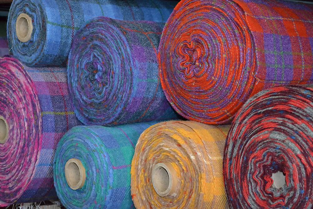 Harris Tweeds are not all subdued; they weave vibrant colors too. Courtesy: Harris Tweed and Knitwear.