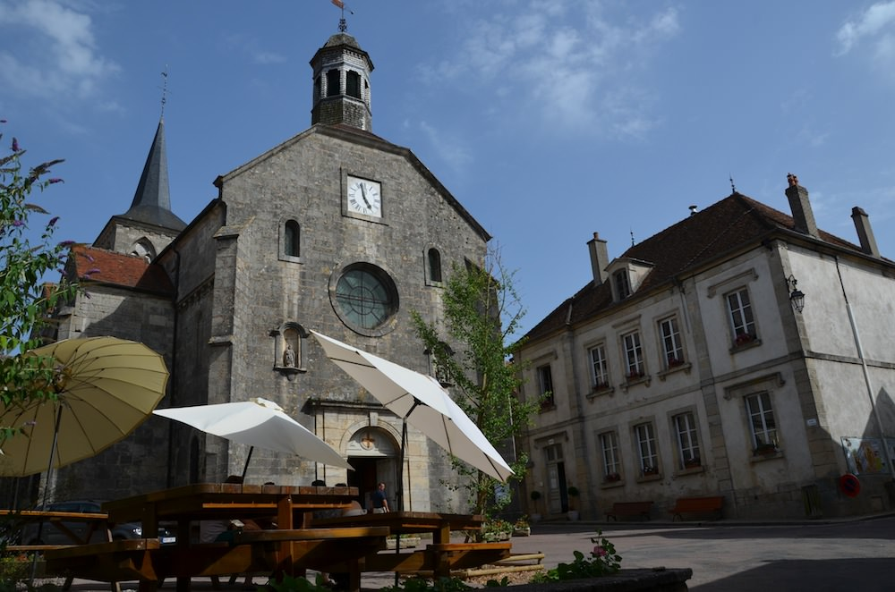 "This photo shows the church and town hall in Flavigny-sur-Ozerain, where the film ""Chocolat"" was filmed. This shot was taken directly outside the chocolate shop."